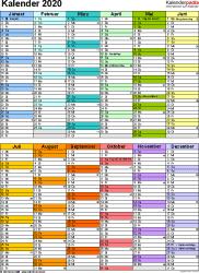 Vorlage 9: Kalender 2020 für Excel, Hochformat, 1 Seite, in Farbe, nach Jahreshälften untergliedert