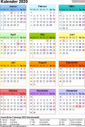 Vorlage 15: Kalender 2020 für Excel, Hochformat, 1 Seite, in Farbe