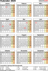 Vorlage 18: Kalender 2020 als <span style=white-space:nowrap;>PDF-Datei, Jahresansicht, Hochformat, 1 Seite