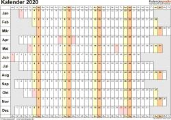 Vorlage 7: Kalender 2020 als <span style=white-space:nowrap;>PDF-Datei, Querformat, 1 Seite, Wochentage untereinander