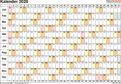 Vorlage 3: Kalender 2020 für Excel, Querformat, 1 Seite, Tage nebeneinander (linear)