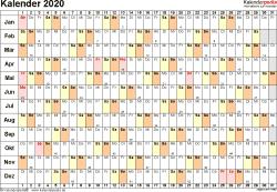 Vorlage 6: Kalender 2020 als <span style=white-space:nowrap;>PDF-Datei, Querformat, 1 Seite, Tage linear