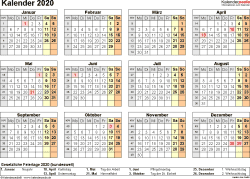 Vorlage 9: Kalender 2020 als <span style=white-space:nowrap;>PDF-Datei, Querformat, 1 Seite, Jahresübersicht