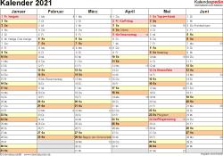 Vorlage 3: Kalender 2021 für Excel, Querformat, 2 Seiten, 1. Halbjahr (Kalender Januar bis Juni 2021) & 2. Halbjahr (Kalender Juli bis Dezember 2021) auf einen Blick