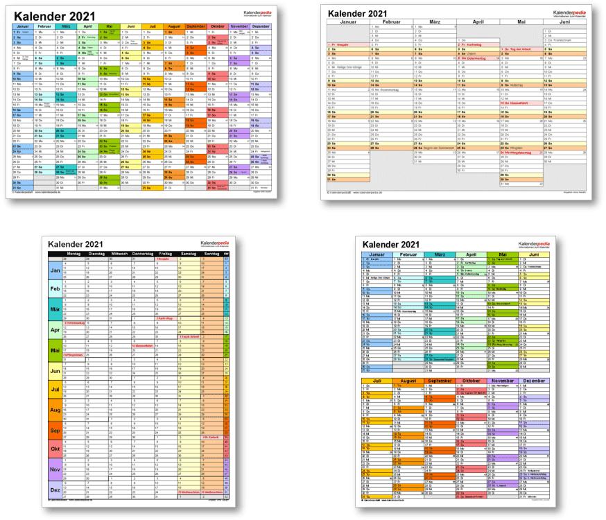Kalendervorlagen 2021 für Excel