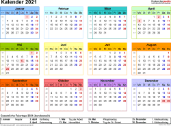 Vorlage 8: Kalender 2021 für Excel, Querformat, 1 Seite, in Farbe