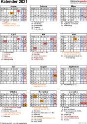 Vorlage 18: Kalender 2021 für Excel, Jahresansicht, Hochformat, 1 Seite, mit Feiertagen und Festtagen
