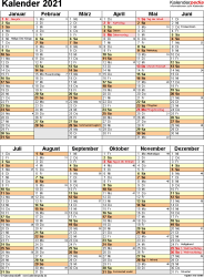 Vorlage 11: Kalender 2021 für Excel, Hochformat, 1 Seite, nach Jahreshälften untergliedert