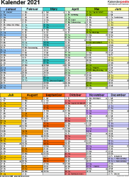 Vorlage 10: Kalender 2021 für Excel, Hochformat, 1 Seite, in Farbe, nach Jahreshälften untergliedert