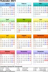 Vorlage 16: Kalender 2021 für Excel, Jahresansicht, Hochformat, 1 Seite, in Farbe