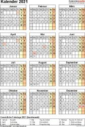 Vorlage 17: Kalender 2021 für Excel, Jahresansicht, Hochformat, 1 Seite