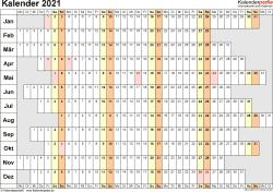 Vorlage 7: Kalender 2021 für Excel, Querformat, 1 Seite, Wochentage untereinander