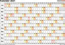 Vorlage 6: Kalender 2021 für Excel, Querformat, 1 Seite, Tage linear