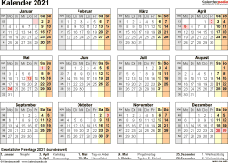 Vorlage 9: Kalender 2021 für Excel, Querformat, 1 Seite
