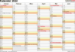 Vorlage 3: Kalender 2022 als PDF-Datei, Querformat, 2 Seiten, 1. Halbjahr (Kalender Januar bis Juni 2022) & 2. Halbjahr (Kalender Juli bis Dezember 2022) auf einen Blick