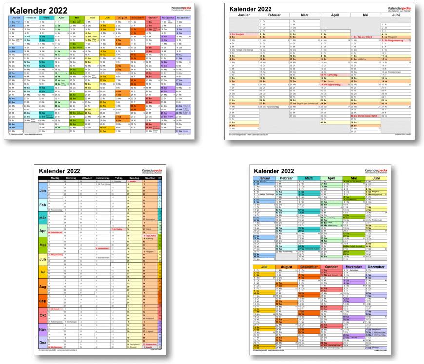 Kalendervorlagen 2022 für Excel
