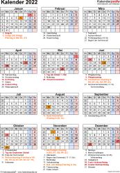 Vorlage 18: Kalender 2022 als PDF-Datei, Jahresansicht, Hochformat, 1 Seite, mit Feiertagen und Festtagen