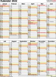 Vorlage 11: Kalender 2022 als PDF-Datei, Hochformat, 1 Seite, nach Jahreshälften untergliedert