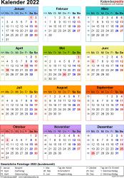 Vorlage 16: Kalender 2022 als PDF-Datei, Jahresansicht, Hochformat, 1 Seite, in Farbe