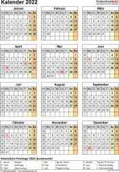 Vorlage 15: Kalender 2022 für Word, Jahresansicht, Hochformat, 1 Seite