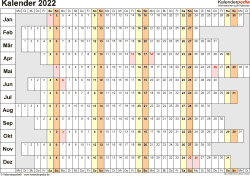Vorlage 7: Kalender 2022 als PDF-Datei, Querformat, 1 Seite, Wochentage untereinander