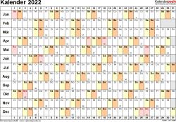 Vorlage 3: Kalender 2022 für Word, Querformat, 1 Seite, Tage nebeneinander (linear)