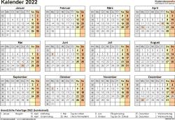 Vorlage 8: Kalender 2022 für Word, Querformat, 1 Seite