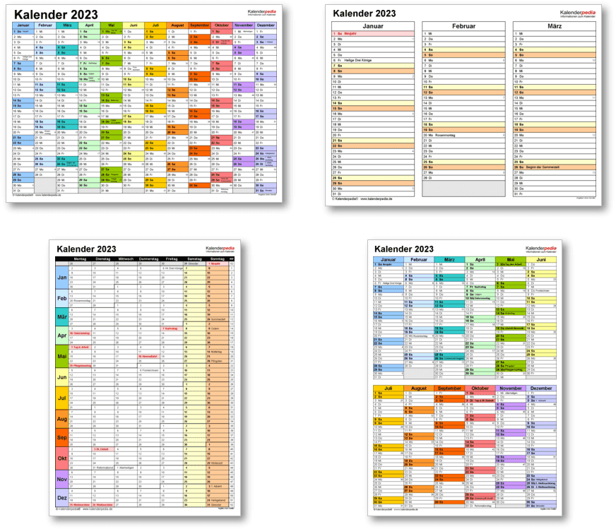 Kalendervorlagen 2023 für Excel