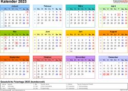 Vorlage 8: Kalender 2023 für Word, Querformat, 1 Seite, in Farbe