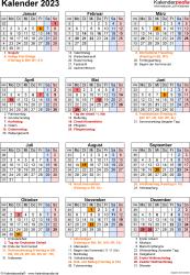 Vorlage 19: Kalender 2023 für Word, Jahresansicht, Hochformat, 1 Seite, mit Feiertagen und Festtagen