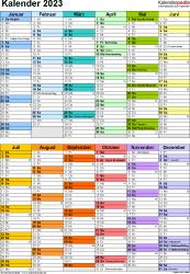 Vorlage 10: Kalender 2023 für Word, Hochformat, 1 Seite, in Farbe, nach Jahreshälften untergliedert