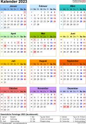 Vorlage 17: Kalender 2023 für Word, Jahresansicht, Hochformat, 1 Seite, in Farbe