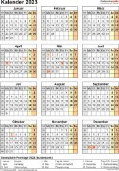 Vorlage 18: Kalender 2023 für Word, Jahresansicht, Hochformat, 1 Seite