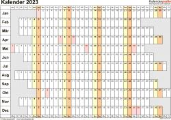 Vorlage 7: Kalender 2023 für Word, Querformat, 1 Seite, Wochentage untereinander