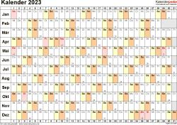 Vorlage 6: Kalender 2023 für Word, Querformat, 1 Seite, Tage linear