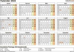 Vorlage 9: Kalender 2023 für Word, Querformat, 1 Seite