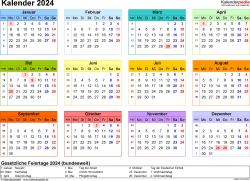 Vorlage 8: Kalender 2024 als Microsoft Excel-Datei (.xlsx), Querformat, 1 Seite, Jahresübersicht, in Farbe