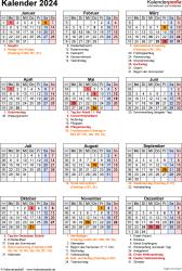 Vorlage 19: Kalender 2024 als PDF-Datei, Jahresansicht, Hochformat, 1 Seite, mit Feiertagen und Festtagen