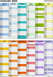Vorlage 10: Kalender 2024 als Microsoft Excel-Datei (.xlsx), Hochformat, 1 Seite, in Farbe, nach Jahreshälften untergliedert