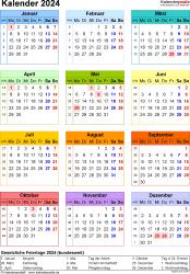 Vorlage 17: Kalender 2024 als Microsoft Excel-Datei (.xlsx), Hochformat, 1 Seite, Jahresübersicht, in Farbe