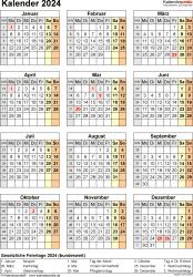 Vorlage 18: Kalender 2024 als Microsoft Excel-Datei (.xlsx), Jahresansicht, Hochformat, 1 Seite