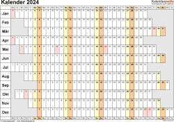 Vorlage 7: Kalender 2024 als PDF-Datei, Querformat, 1 Seite, Wochentage untereinander
