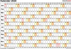Vorlage 6: Kalender 2024 als PDF-Datei, Querformat, 1 Seite, Tage linear