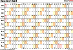 Vorlage 6: Kalender 2024 als <span style=white-space:nowrap;>PDF-Datei, Querformat, 1 Seite, Tage linear