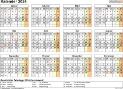 Vorlage 9: Kalender 2024 als Microsoft Excel-Datei (.xlsx), Querformat, 1 Seite, Jahresübersicht