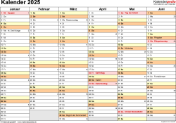 Vorlage 3: Kalender 2025 als Microsoft Word-Datei (.docx), Querformat, 2 Seiten, 1. Halbjahr (Januar bis Juni 2025) & 2. Halbjahr (Juli bis Dezember 2025) auf einen Blick