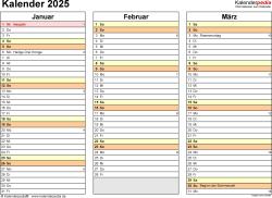 Vorlage 5: Kalender 2025 als Microsoft Word-Datei (.docx), Querformat, 4 Seiten, jedes Quartal auf einer Seite