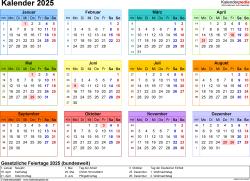Vorlage 8: Kalender 2025 als Microsoft Word-Datei (.docx), Querformat, 1 Seite, Jahresübersicht, in Farbe