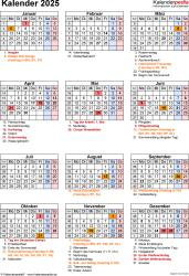 Vorlage 19: Kalender 2025 als Microsoft Word-Datei (.docx), Jahresansicht, Hochformat, 1 Seite, mit Feiertagen und Festtagen