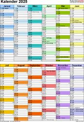 Vorlage 10: Kalender 2025 als Microsoft Word-Datei (.docx), Hochformat, 1 Seite, in Farbe, nach Jahreshälften untergliedert